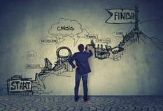 Προκλήσεις σταδιοδρομίας Επιχειρηματίας που εξετάζει ένα σκίτσο του τ διανυσματική απεικόνιση