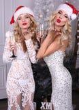 Προκλητικά κορίτσια στο καπέλο Santa και τα πολυτελή φορέματα, σαμπάνια κατανάλωσης Στοκ Φωτογραφία