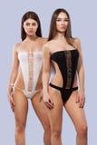 Προκλητικά κορίτσια brunette που φορούν τη ρόδινη swimwear τοποθέτηση στο υπόβαθρο χρώματος σώμα τέλειο Έννοια θερινών διαφημίσεω Στοκ Εικόνες