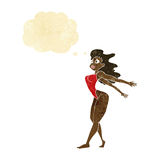 προκλητική γυναίκα κινούμενων σχεδίων στο μαγιό με τη σκεπτόμενη φυσαλίδα Στοκ φωτογραφία με δικαίωμα ελεύθερης χρήσης