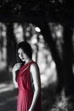 Προκλητική γυναίκα στο κόκκινο φόρεμα στη δασική άνοιξη ομορφιάς νεράιδων Στοκ εικόνες με δικαίωμα ελεύθερης χρήσης