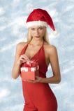 Προκλητική γυναίκα στο χρόνο Χριστουγέννων στοκ φωτογραφία