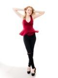Προκλητική ευτυχής γυναίκα με το τέλειο όμορφο σώμα Στοκ φωτογραφία με δικαίωμα ελεύθερης χρήσης