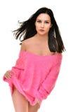 Προκλητική εύθυμη γυναίκα που φορά το ροζ Στοκ εικόνες με δικαίωμα ελεύθερης χρήσης