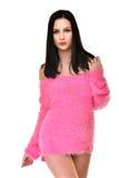 Προκλητική εύθυμη γυναίκα που φορά το ροζ Στοκ Εικόνες