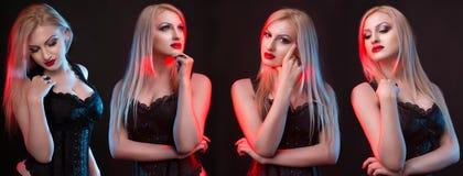 Προκλητική κυρία σε έναν κορσέ με την κόκκινη και μπλε ελαφριά παρουσίαση διαφορετική Στοκ φωτογραφία με δικαίωμα ελεύθερης χρήσης