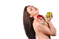 Προκλητική νέα γυναίκα με το μήλο Στοκ φωτογραφία με δικαίωμα ελεύθερης χρήσης