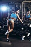 Προκλητική νέα γυναίκα brunette που στηρίζεται στη γυμναστική σε μια μπλε αθλητική ένδυση Στοκ Φωτογραφία