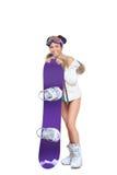 Προκλητική ντυμένη γυναίκα με το σνόουμπορντ στοκ εικόνα με δικαίωμα ελεύθερης χρήσης