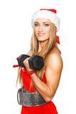 Προκλητική ξανθή γυναίκα ικανότητας με το barbell Στοκ φωτογραφία με δικαίωμα ελεύθερης χρήσης