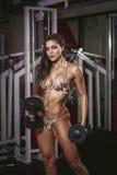 Προκλητική ξανθή γυναίκα bodybuilder στο μπικίνι Στοκ Εικόνες