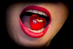 Προκλητική χειλική κόκκινη καρδιά Στοκ Φωτογραφίες