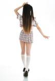 Προκλητικός ασιατικός σπουδαστής κοριτσιών στην πλάτη σχολικών στολών στοκ φωτογραφία με δικαίωμα ελεύθερης χρήσης