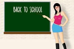 Προκλητικός λεπτός δάσκαλος κοντά στο σχολικό πίνακα, πίσω στο σχολείο Στοκ Φωτογραφία