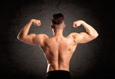 Προκλητικός τύπος ανυψωτών βάρους που παρουσιάζει μυς Στοκ Φωτογραφίες