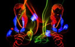 Προκλητικός χορευτής πυράκτωσης νέου UV Στοκ Φωτογραφία