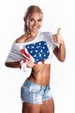 Προκλητικό αμερικανικό αθλητικό ξανθό χαμόγελο Στοκ Εικόνες
