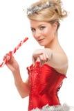 Προκλητικό εύθυμο κορίτσι αρωγών santa Στοκ εικόνες με δικαίωμα ελεύθερης χρήσης