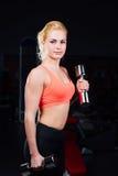 Προκλητικό κορίτσι που κάνει τις ασκήσεις στους δικέφαλους μυς όπλων της και triceps ικανότητα με τους αλτήρες στη γυμναστική στοκ φωτογραφία