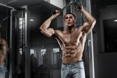 Προκλητικό μυϊκό άτομο που επιλύει στη γυμναστική, διαμορφωμένος κοιλιακός Ισχυρά αρσενικά γυμνά ABS κορμών Στοκ Εικόνες