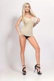 Προκλητικό ξανθό κορίτσι με τα μεγάλα στήθη και τα μακριά πόδια Στοκ Εικόνες