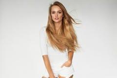 _ Προκλητικό πρότυπο γυναικών με την όμορφη μακριά ξανθή τρίχα στοκ φωτογραφία με δικαίωμα ελεύθερης χρήσης