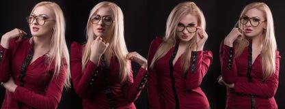 Προκλητικό πρότυπο στην κόκκινη μπλούζα που φορά τα γυαλιά που θέτουν για τη μόδα phot Στοκ εικόνα με δικαίωμα ελεύθερης χρήσης