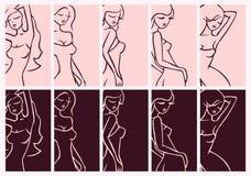 Προκλητικό σύνολο κοριτσιών κάθετων ρόδινων και πορφυρών καμπυλών Στοκ εικόνα με δικαίωμα ελεύθερης χρήσης