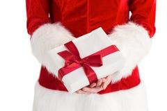 Προκλητικό δώρο εκμετάλλευσης κοριτσιών santa Στοκ εικόνες με δικαίωμα ελεύθερης χρήσης