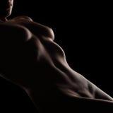 Προκλητικό nude σώμα γυναικών που βρίσκεται πέρα από το μαύρο υπόβαθρο στούντιο Στοκ Εικόνες