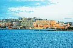 Προμαχώνας του ST Michael στο μεγάλο λιμενικό βράδυ Μάλτα Στοκ Φωτογραφία