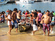 Προμηθευτής θαλασσινών κοχυλιών στην ηβική παραλία Acapulco στοκ εικόνα