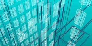 Προοπτική Futurist με τις κάθετα γραμμές και τα στοιχεία binari Στοκ Εικόνες
