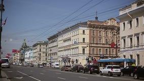 Προοπτική Nevsky πόλεων Άγιος-Πετρούπολη απόθεμα βίντεο