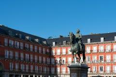 Προορισμός ταξιδιού της Μαδρίτης Άγαλμα του Philip ΙΙΙ στο δήμαρχο Plaza Στοκ φωτογραφία με δικαίωμα ελεύθερης χρήσης