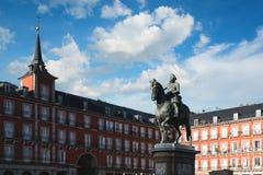Προορισμός ταξιδιού της Μαδρίτης Άγαλμα του Philip ΙΙΙ στο δήμαρχο Plaza Στοκ Φωτογραφίες