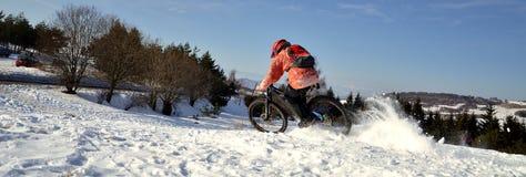 Προς τα κάτω αναβάτης ποδηλάτων βουνών Στοκ Εικόνες