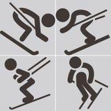 Προς τα κάτω να κάνει σκι εικονίδια Στοκ Εικόνα