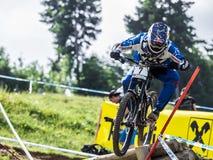 Προς τα κάτω ποδηλάτης σε UCI προς τα κάτω Στοκ εικόνες με δικαίωμα ελεύθερης χρήσης