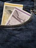 προσέγγιση στην μπροστινή τσέπη των τζιν στο μπλε με τα δανικά τραπεζογραμμάτια στοκ φωτογραφία με δικαίωμα ελεύθερης χρήσης