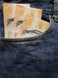 προσέγγιση στην μπροστινή τσέπη των τζιν στο μπλε με τα τραπεζογραμμάτια της Νέας Ζηλανδίας στοκ εικόνες