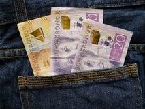 προσέγγιση στην πίσω τσέπη των τζιν στο μπλε με τα σουηδικά τραπεζογραμμάτια στοκ εικόνες