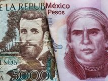 προσέγγιση στο κολομβιανό τραπεζογραμμάτιο 5000 πέσων και το μεξικάνικο τραπεζογραμμάτιο πενήντα πέσων