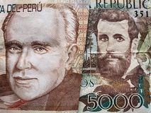 προσέγγιση στο περουβιανό τραπεζογραμμάτιο είκοσι πελμάτων και το κολομβιανό τραπεζογραμμάτιο 5000 πέσων