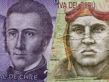 προσέγγιση στο της Χιλής τραπεζογραμμάτιο 2000 πέσων και το περουβιανό τραπεζογραμμάτιο δέκα πελμάτων