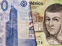 προσέγγιση στο τραπεζογραμμάτιο Χονγκ Κονγκ είκοσι δολαρίων και το μεξικάνικο τραπεζογραμμάτιο 200 πέσων