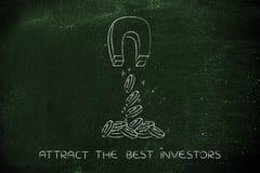 Προσέλκυση των νομισμάτων με το μαγνήτη, έννοια επένδυσης Στοκ Εικόνες