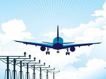 Προσγείωση αεροπλάνων απεικόνιση αποθεμάτων