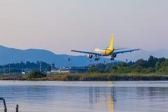 Προσγείωση του αεροπλάνου, Κέρκυρα Στοκ Εικόνες