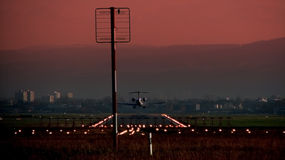 προσγειωμένος αεροπλάν&o Στοκ Φωτογραφία